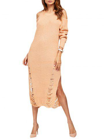 Outfit Cold Shoulder Frayed Midi Jumper Dress
