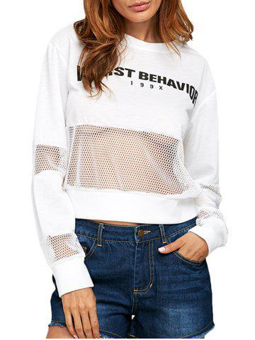 Shops Casual Round Collar Letter Print Sheer Women Sweatshirt