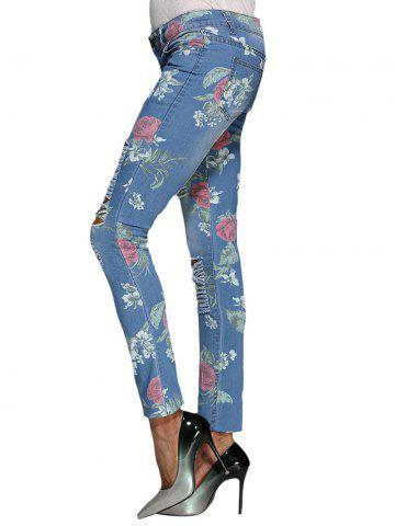 Hot Chic Mid Waist Floral Print Frayed Skinny Women Jeans - L BLUE Mobile