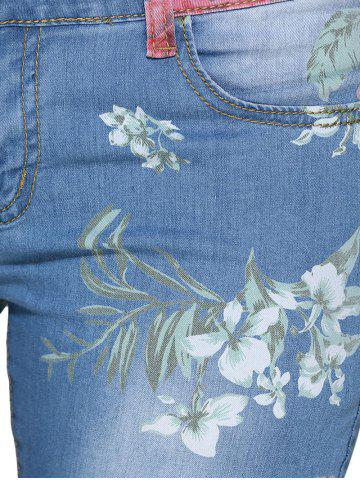 Latest Chic Mid Waist Floral Print Frayed Skinny Women Jeans - L BLUE Mobile