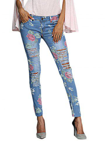 Trendy Chic Mid Waist Floral Print Frayed Skinny Women Jeans - L BLUE Mobile