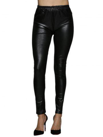 Affordable High Waist Faux Leather Skinny Pants - XL BLACK Mobile