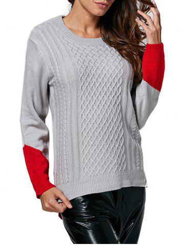 Latest Fashionable Round Collar Color Block Women Pullover GRAY ONE SIZE(FIT SIZE XS TO M)