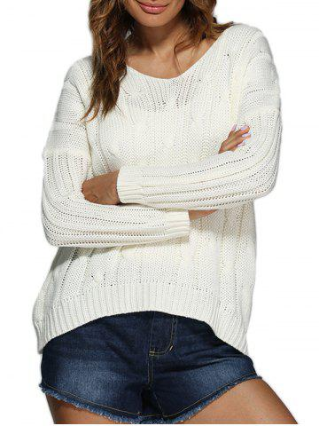 New Brief Style V-Neck Knitted Loose-Fitting Women Pullover WHITE ONE SIZE(FIT SIZE XS TO M)