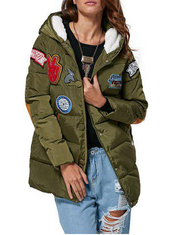 Chic Trendy Hooded Patchwork Design Color Block Women Down Coat ARMY GREEN L