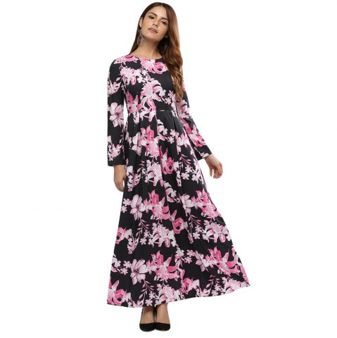 Cheap Old Classical Round Collar Sash Waist A-line Women Floral Dress