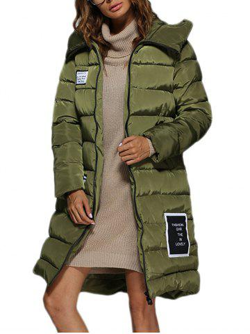 Fancy Trendy Hooded Patchwork Double Pocket Women Long Down Coat ARMY GREEN M