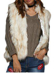 Chic Collarless Women Faux Fur Coat - WHITE GREY