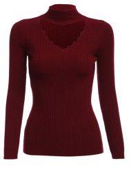 Trendy Cloth Necklace V-neck Long Sleeve Pure Color Women Woolen Sweater -