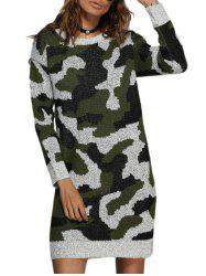 Street Style Round Collar Camouflage Women Sweater Dress