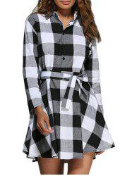 Color Block A-Line Mini Plaid Casual Dress
