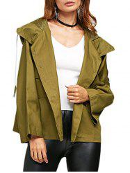 Street Style Hooded Front Double Pocket Women Coat -