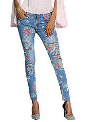 Chic Mid Waist Floral Print Frayed Skinny Women Jeans -