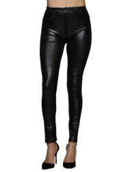 High Waist Faux Leather Skinny Pants - BLACK
