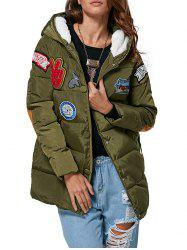 Trendy Hooded Patchwork Design Color Block Women Down Coat - ARMY GREEN