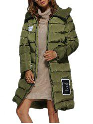 Trendy Hooded Patchwork Double Pocket Women Long Down Coat - ARMY GREEN XL