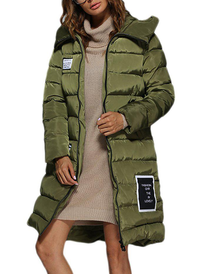 Trendy Hooded Patchwork Double Pocket Women Long Down CoatWOMEN<br><br>Size: XL; Color: ARMY GREEN; Clothes Type: Down &amp; Parkas; Material: Down,Polyester; Fabric Type: Broadcloth; Padding : White Duck Down; Type: Wide-waisted; Shirt Length: Long; Sleeve Length: Full; Collar: Hooded; Closure Type: Zipper; Pattern Type: Patchwork; Embellishment: Zippers; Style: Fashion; Elasticity: Nonelastic; Weight: 0.914kg; Package Contents: 1 x Coat;