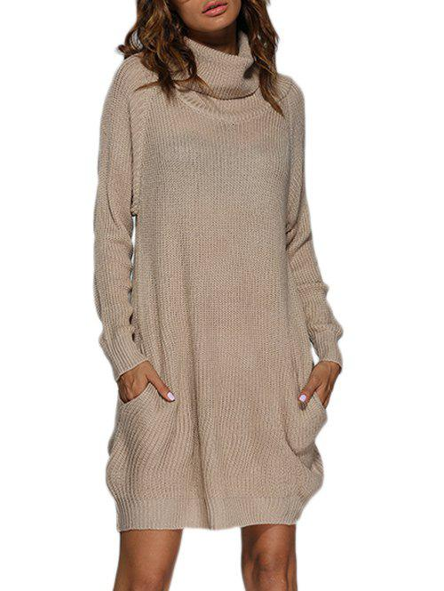 Turtleneck Shift Long Sleeve Sweater DressWOMEN<br><br>Size: M; Color: APRICOT; Style: Brief; Material: Polyester; Fabric Type: Broadcloth; Silhouette: Straight; Dresses Length: Knee-Length; Neckline: Turtleneck; Sleeve Length: Long Sleeves; Pattern Type: Solid; Elasticity: Elastic; With Belt: No; Season: Fall; Weight: 0.3990kg; Package Contents: 1 x Dress;