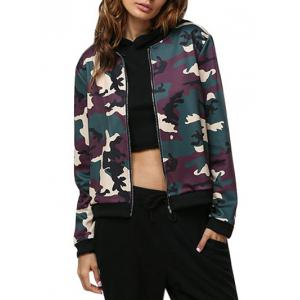 Casual Short Round Collar Camouflage Women Jacket