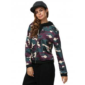 Casual Short Round Collar Camouflage Women Jacket - CAMOUFLAGE L