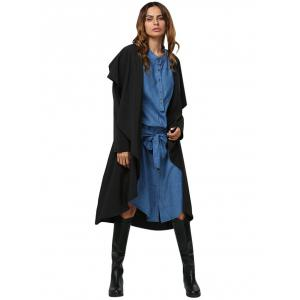 Simple Style Turn Down Collar Loose-Fitting Women Trench Coat - BLACK M