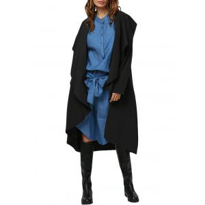 Simple Style Turn Down Collar Loose-Fitting Women Trench Coat - Black - Xl