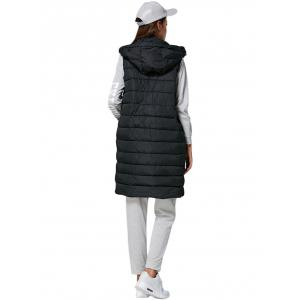 Brief Hooded Pure Color Side Pocket Women Down Waistcoat -