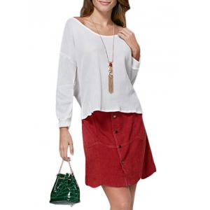 Simple Scoop Collar Pure Color Loose-Fitting Women T-Shirt