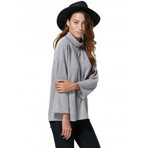 Chic Turtleneck Rib Knitted Loose Women Blouse -