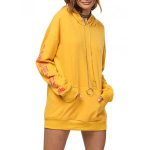 Chic Hooded Front Pocket Printed Women Hoodie - Ginger - M