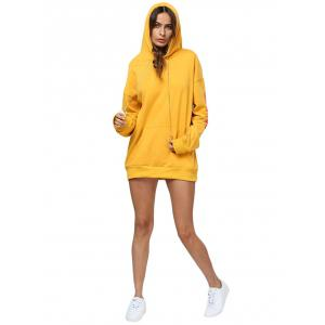 Chic Hooded Front Pocket Printed Women Hoodie -
