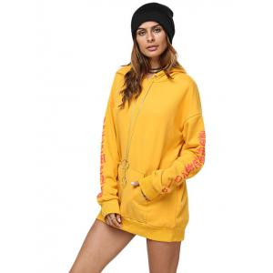 Chic Hooded Front Pocket Printed Women Hoodie - GINGER M