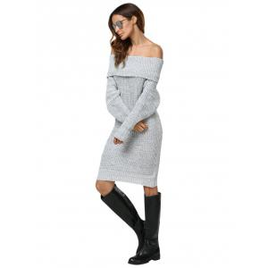 Sexy Off The Shoulder Pure Color Women Sweater Dress -