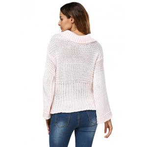Sweet Turn Down Collar Flare Sleeve Knitted Women Pullover -
