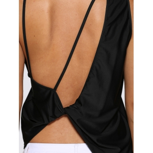 Chic Round Collar Backless Women Black Tank Top -
