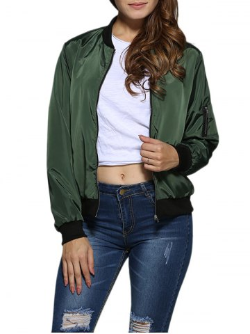 Street Style Stand Collar Pure Color Women Jacket - ARMY GREEN M