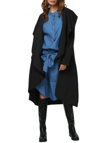Discount Simple Style Turn Down Collar Loose-Fitting Women Trench Coat BLACK M