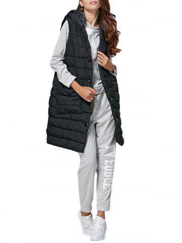 Buy Brief Hooded Pure Color Side Pocket Women Down Waistcoat