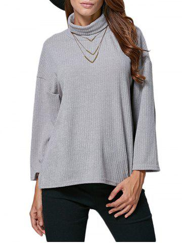New Chic Turtleneck Rib Knitted Loose Women Blouse