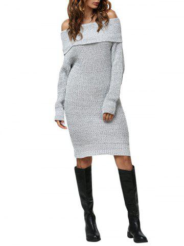 Buy Sexy Off The Shoulder Pure Color Women Sweater Dress