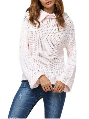 Sale Sweet Turn Down Collar Flare Sleeve Knitted Women Pullover