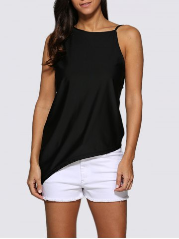 Online Chic Round Collar Backless Women Black Tank Top