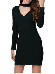 Cut Out Bodycon Long Sleeve Short Dress