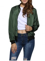 Street Style Stand Collar Pure Color Women Jacket -