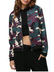 Casual Round Collar Camouflage Women Jacket - CAMOUFLAGE M