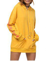 Chic Hooded Front Pocket Printed Women Hoodie - GINGER