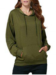 Casual Hooded Front Pocket Women Hoodie - ARMY GREEN M