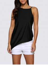 Chic Round Collar Backless Women Black Tank Top