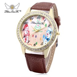 ZhouLianFa Female Quartz Watch Christmas Pattern Dial Leather Band Wristwatch