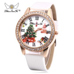 ZhouLianFa Women Quartz Watch Artificial Diamond Christmas Pattern Dial Leather Band Wristwatch